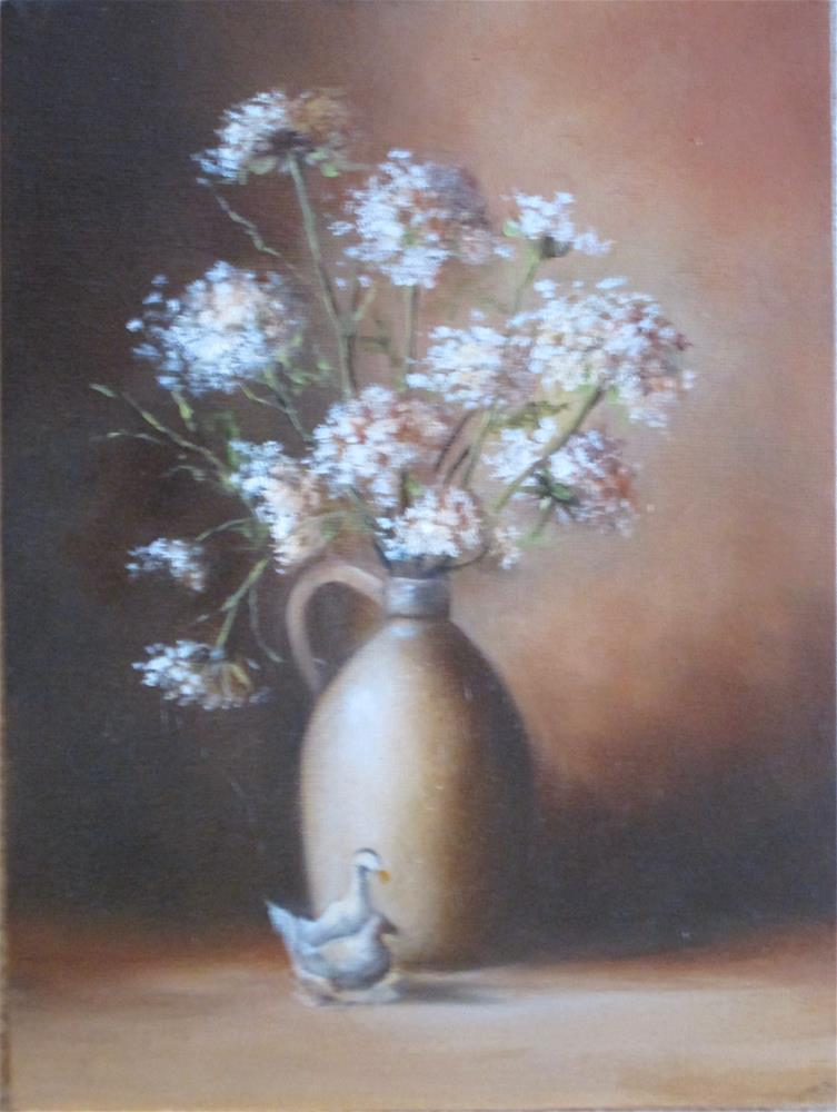 """Queens Lace in Jar"" original fine art by Barbara Wagner"