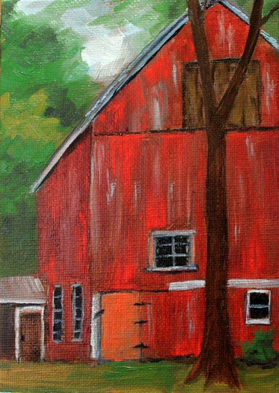 """""""Red Barn"""" original fine art by Jean Nelson"""
