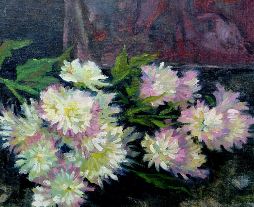 """Mums"" original fine art by Rhett Regina Owings"