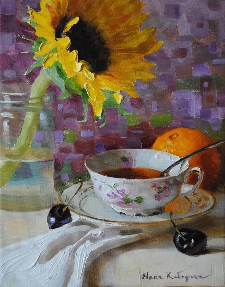 """Tuesday Tea"" original fine art by Elena Katsyura"