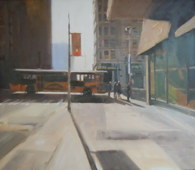 """""""Capital Grill  Seattle city oil painting by Robin Weiss"""" original fine art by Robin Weiss"""
