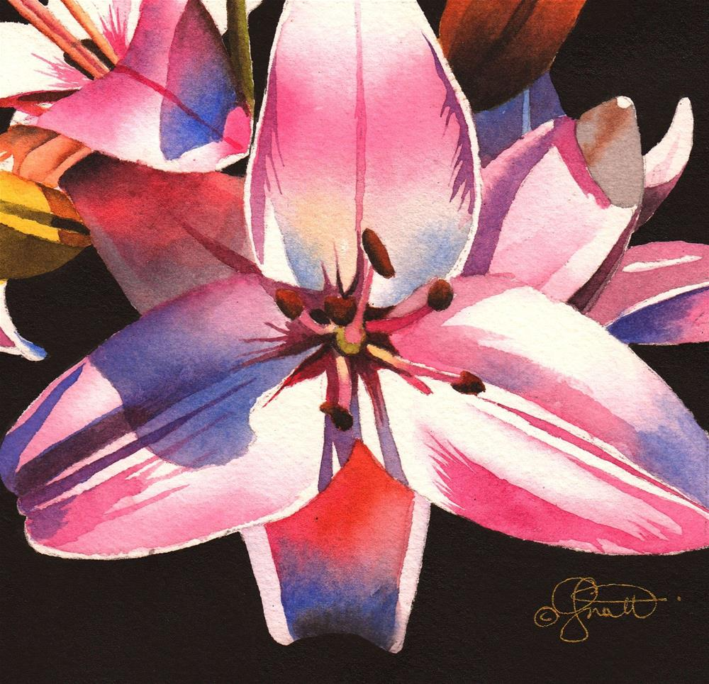 """""""Pink Asiatic Lily"""" original fine art by Jacqueline Gnott, TWSA, WHS"""