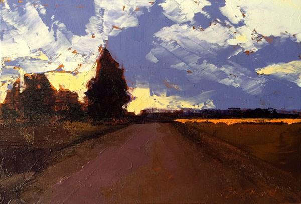 """Minervaville, Winter Evening"" original fine art by Mary Gilkerson"