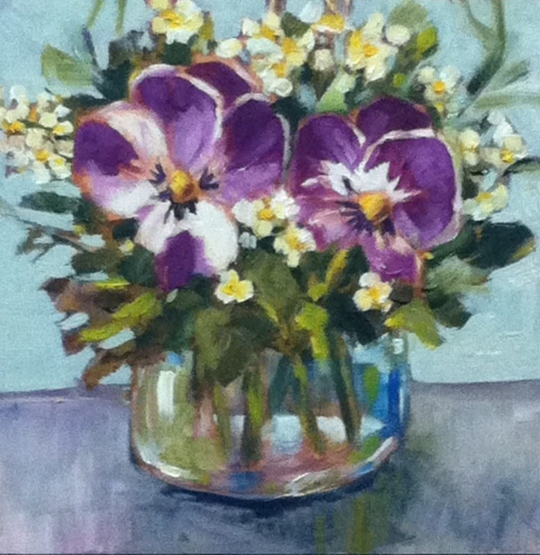 """""""Double Pansies"""" original fine art by Libby Anderson"""