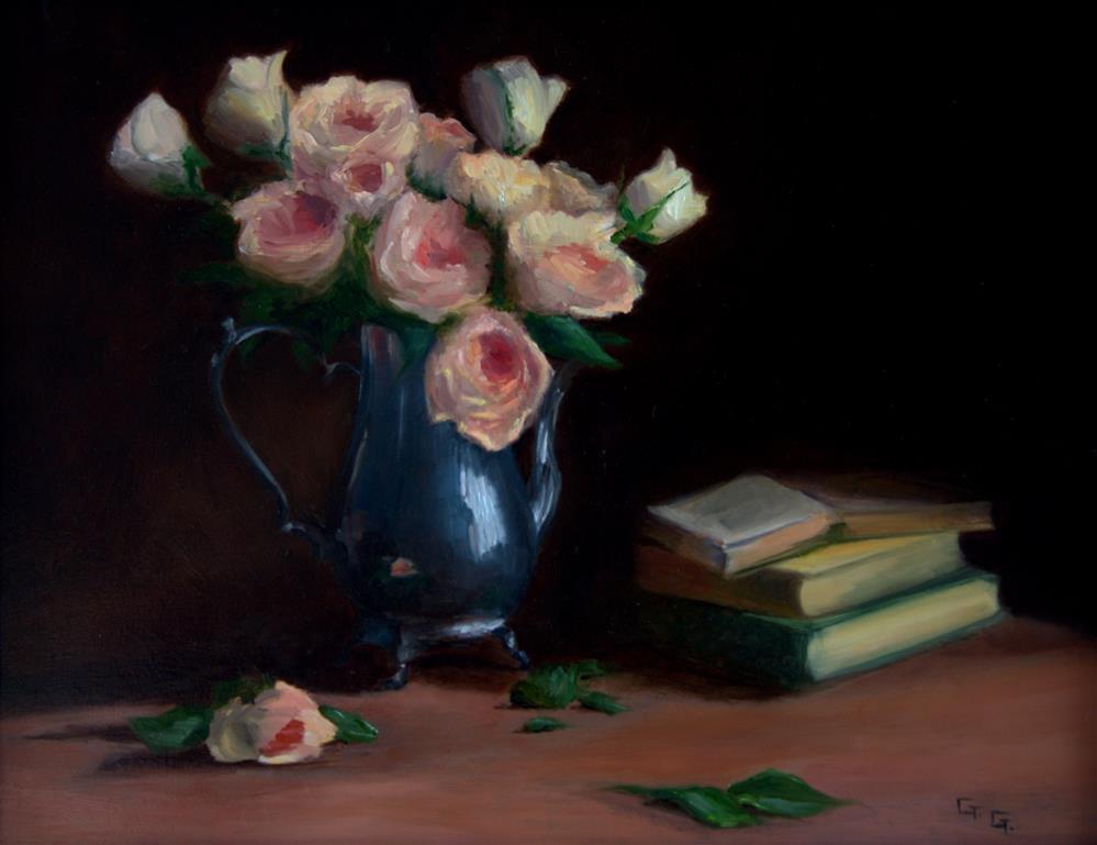 """""""Roses in Silver Vase"""" original fine art by Gail G. Slockett"""