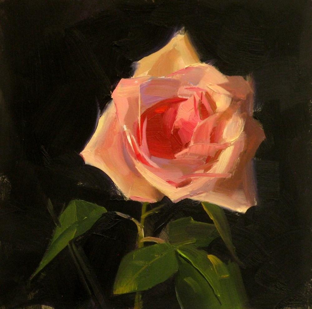 """Pink Rose Study 10"" original fine art by Qiang Huang"