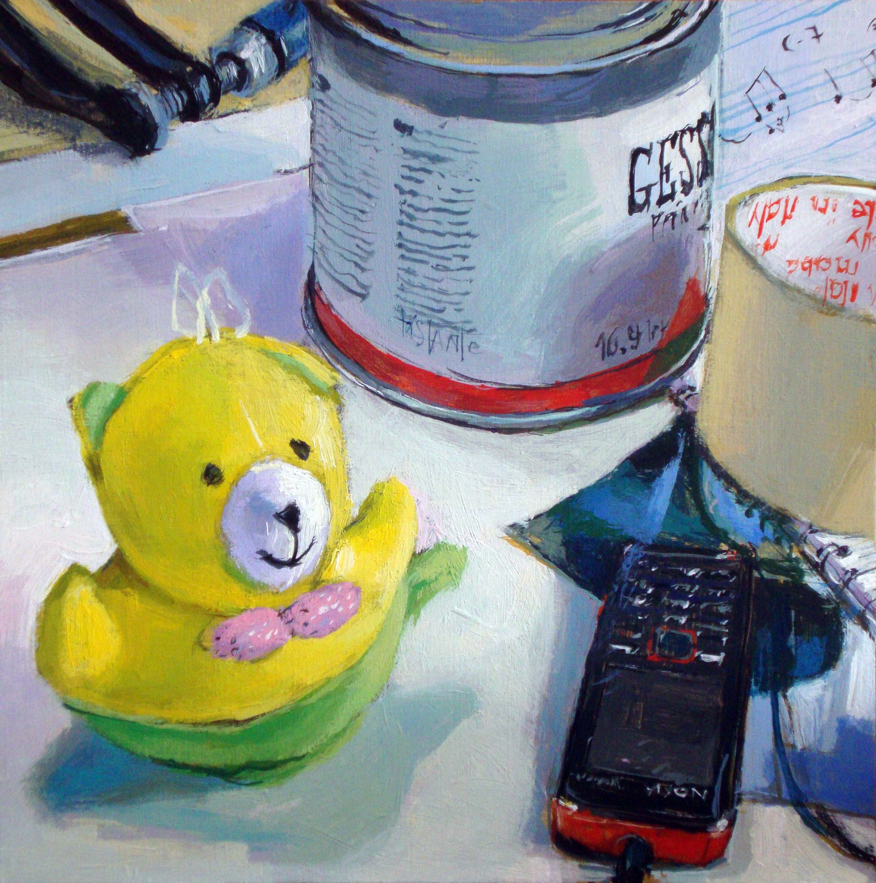"""""""Gesso, sheets and the yellow bear"""" original fine art by Víctor Tristante"""