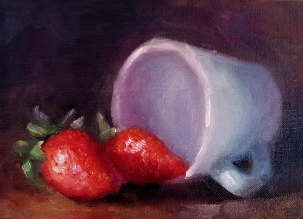 """Strawberries and Blue Cup"" original fine art by Cindy Haase"