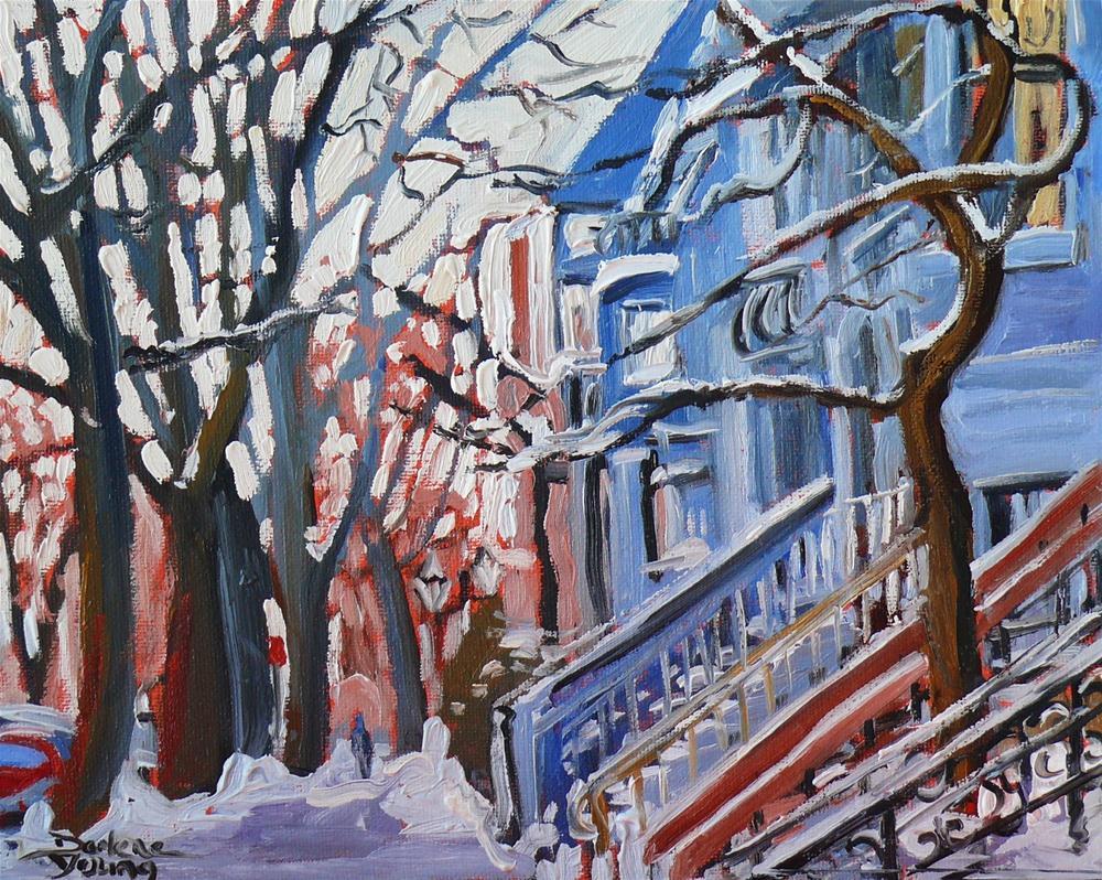 """591 Montreal. Plateau Snow Scene"" original fine art by Darlene Young"