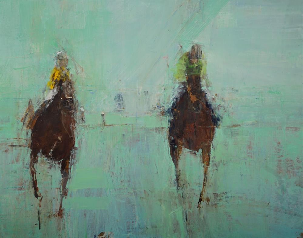 """Polo Practice oil 24x30"" original fine art by Deborah R Hill"