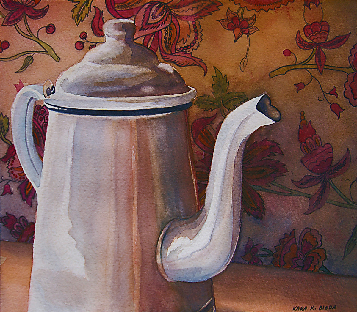"""Coffee Pot III"" original fine art by Kara K. Bigda"