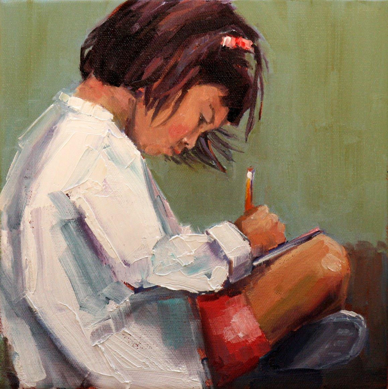 """engrossed"" original fine art by Carol Carmichael"