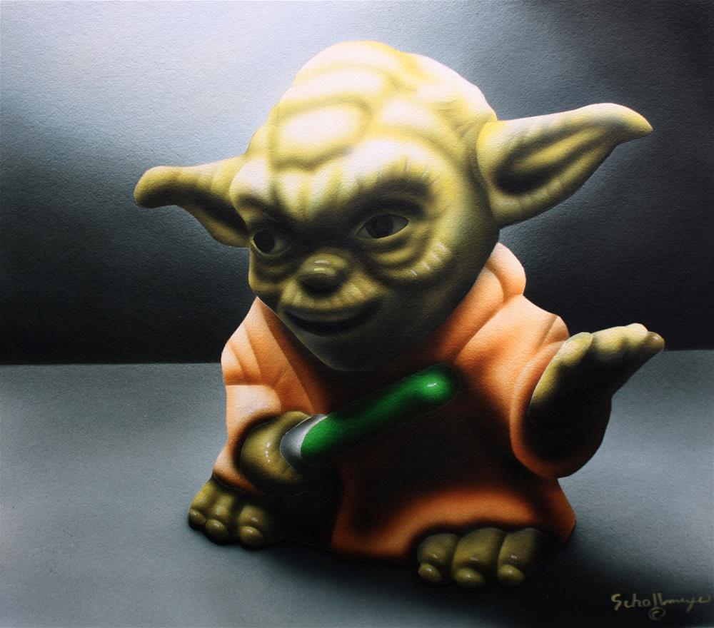 """Toy Yoda in Shadows"" original fine art by Fred Schollmeyer"