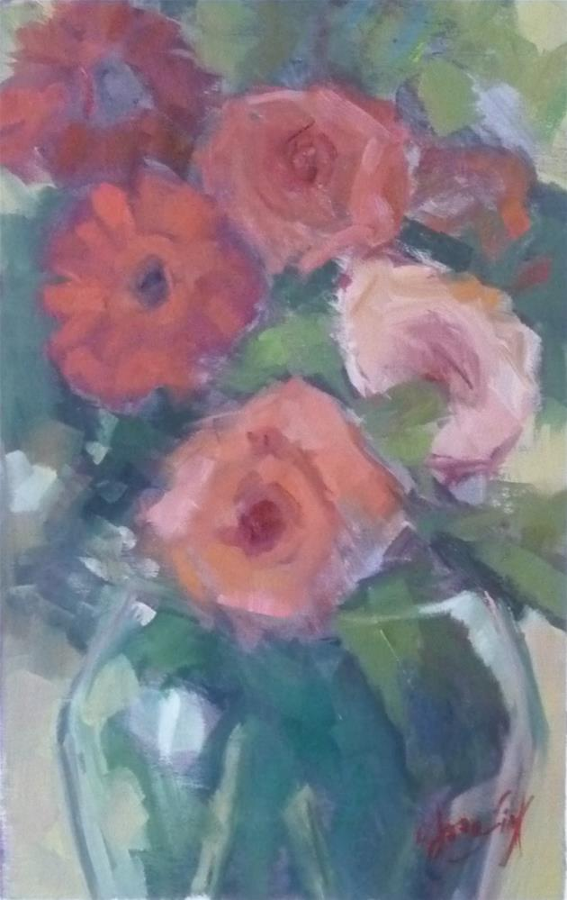 """Roses and Gerbers"" original fine art by Carol Josefiak"