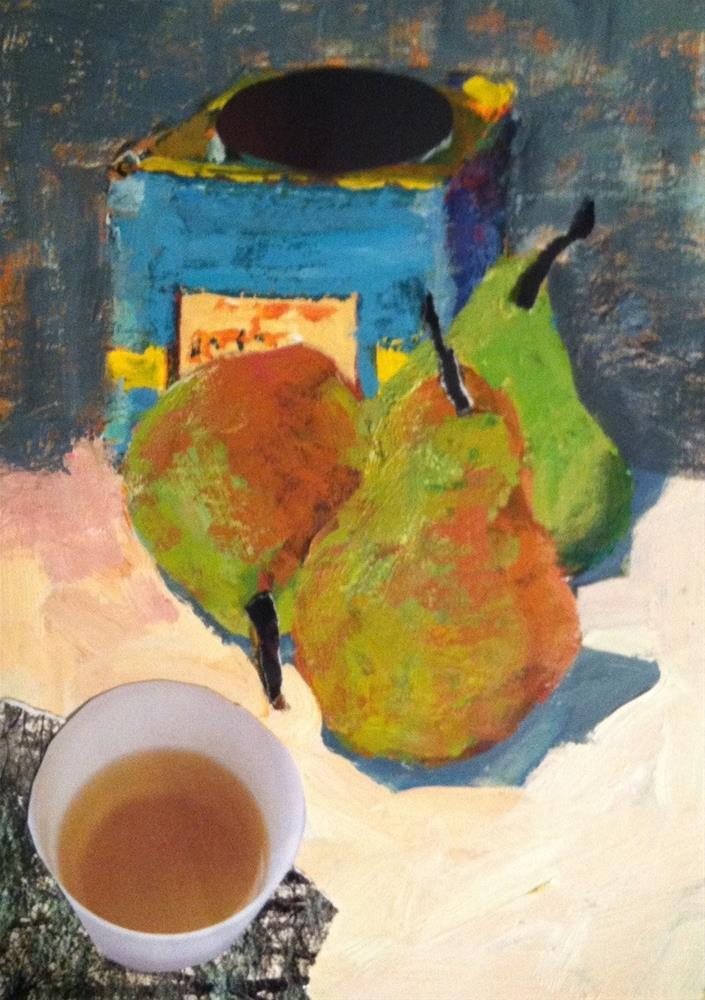 """""""Still Life with Pears and Tea"""" original fine art by Christine Parker"""
