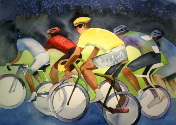 """""""Go Wiggo: Brad Wiggins"""" original fine art by Shirley Peters"""