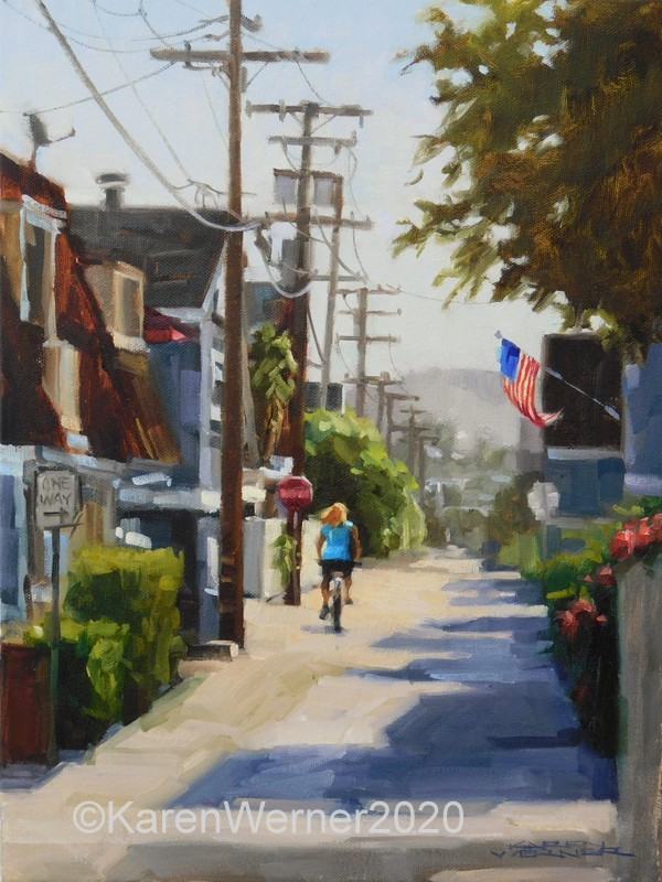 """""""Alley Ride"""" original fine art by Karen Werner"""