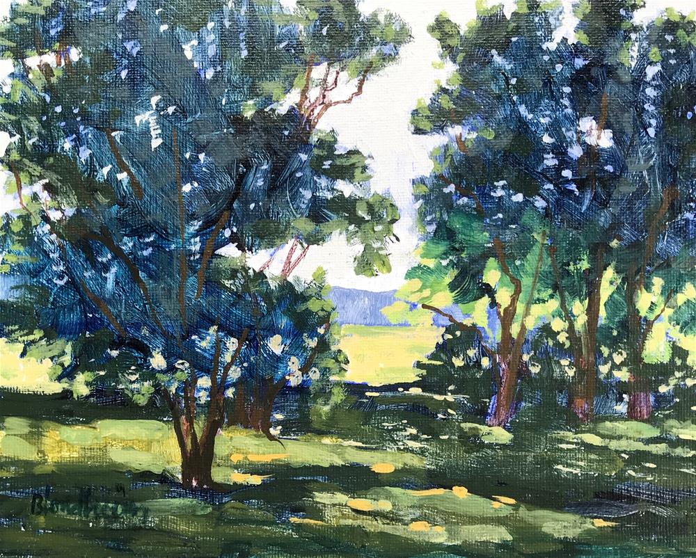 """Summer Sale Paintings Back Lit Trees"" original fine art by Linda Blondheim"