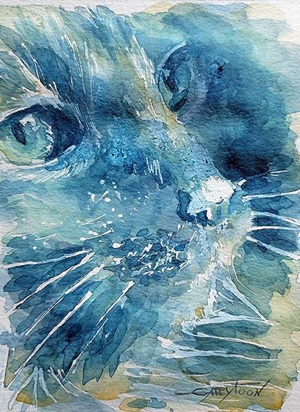 """""""A Cat"""" original fine art by Gabriella DeLamater"""