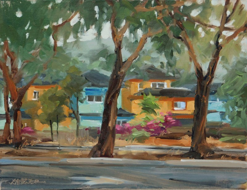 """Beach Houses"" original fine art by Karen Werner"