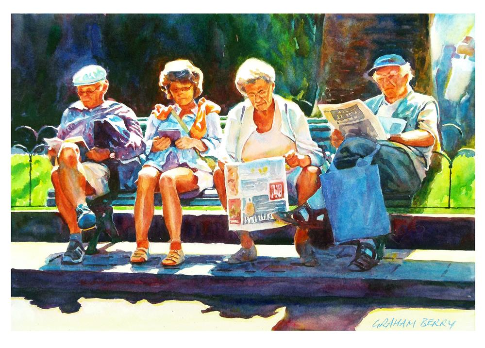 """Holiday reading"" original fine art by Graham Berry"