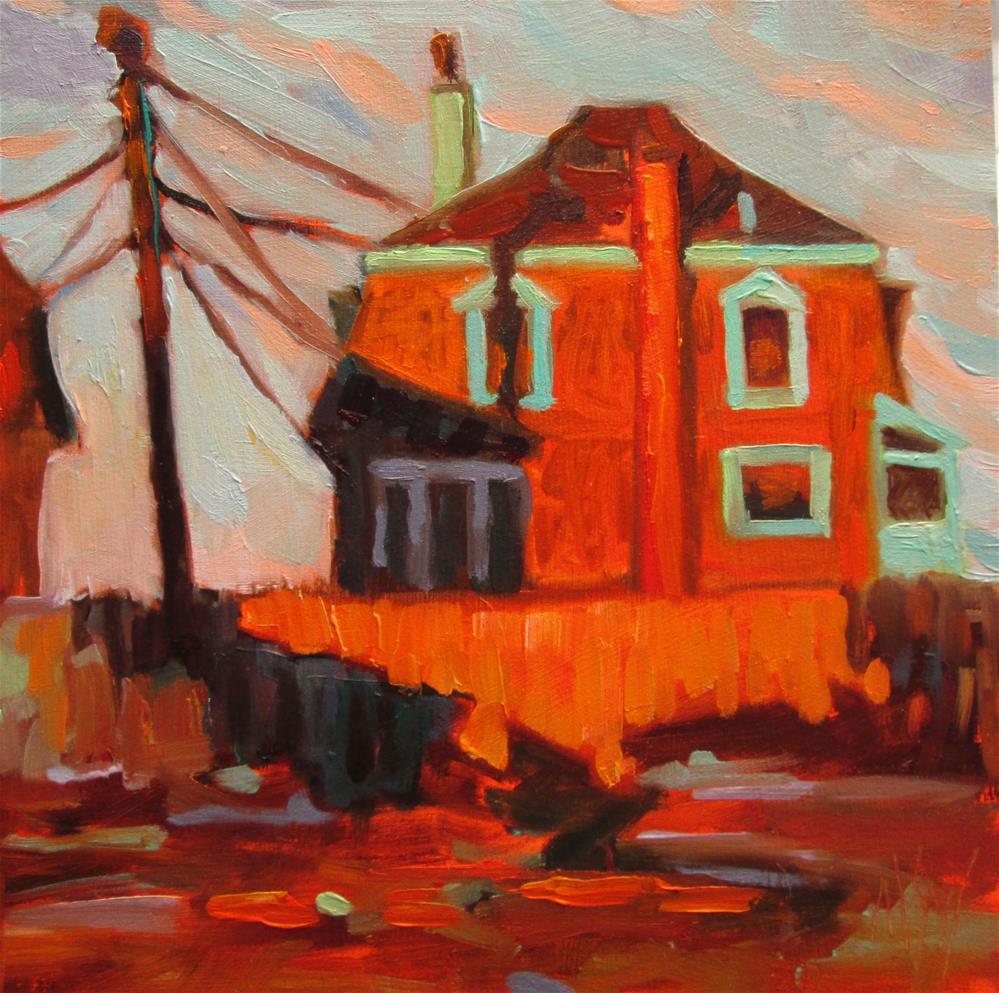 """Winter Sky, Brant Rock 6x6 oil on 3/4 cradled panel.  I love painting the dramatic winter skies in my beachside neighborhood."" original fine art by Mary Sheehan Winn"