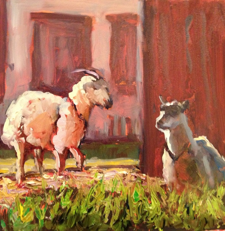 """In the Barnyard I, Day 13"" original fine art by Claudia L Brookes"