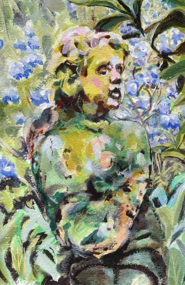 """Garden Statue"" original fine art by Debbie Yacenda"
