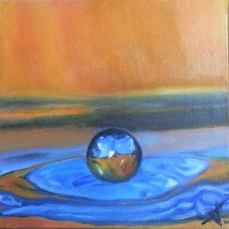 """""""Drop in orange"""" original fine art by Konstantia Karletsa"""