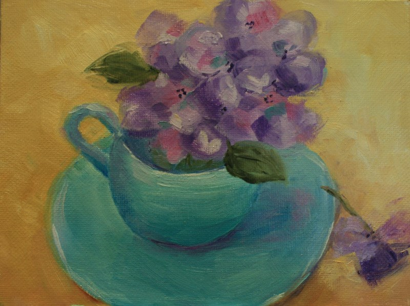 """Mountain Laurel in Aqua Tea Cup"" original fine art by Jean Nelson"