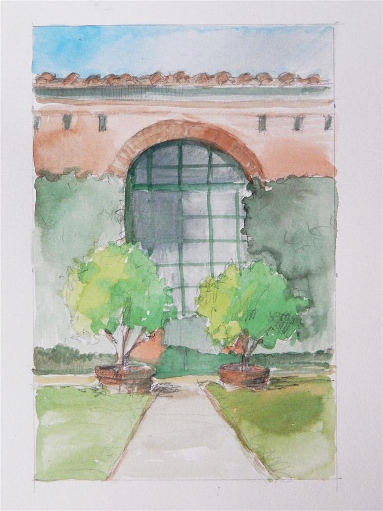 """Garden in Lucca"" original fine art by Lisa Kyle"