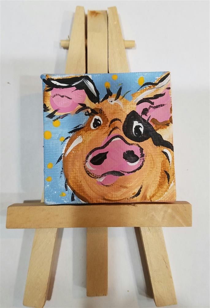 """Itty Bitty Pig #648"" original fine art by Terri Einer"