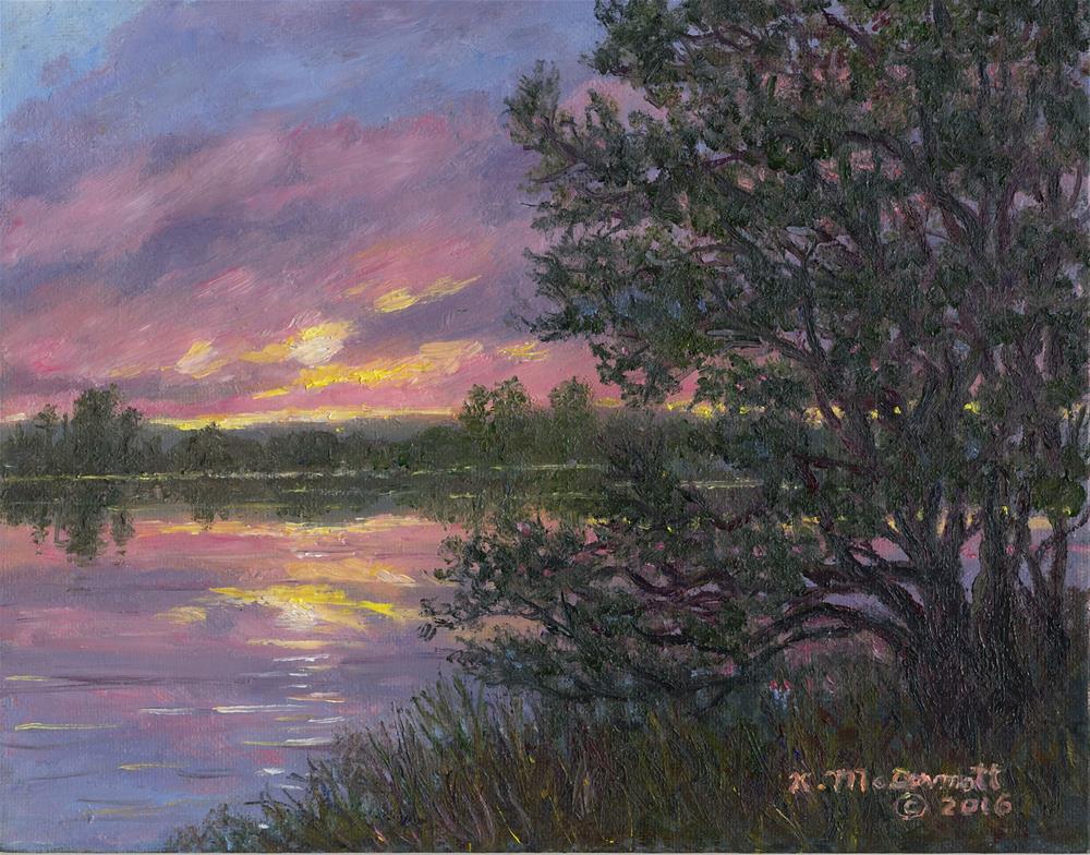 """""""Sunset River # 8 (C) 2016 by K. McDermott"""" original fine art by Kathleen McDermott"""