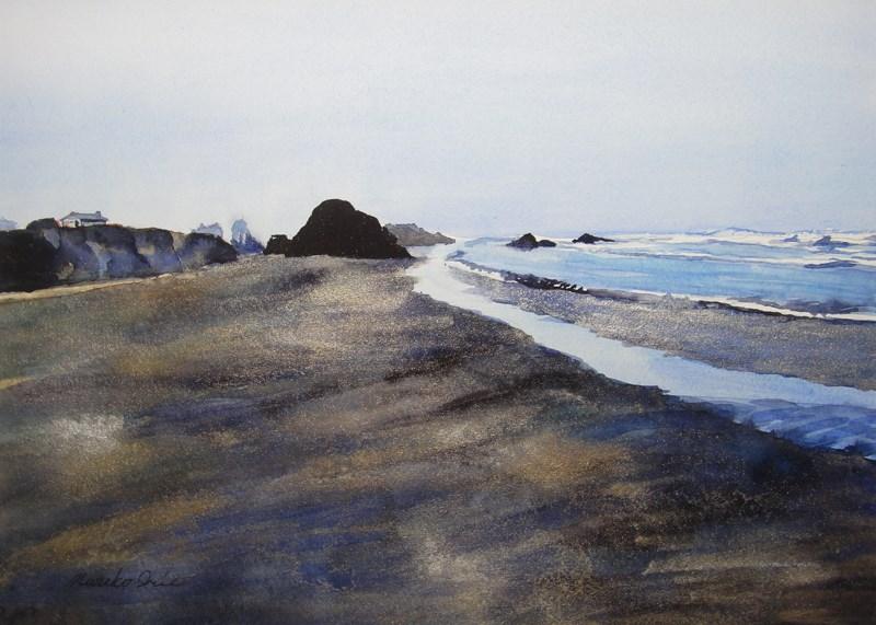 """""""Seaside Beach in Silver"""" original fine art by Mariko Irie"""
