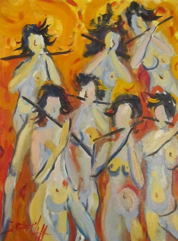 """""""Walking Nudes with Flutes"""" original fine art by Delilah Smith"""