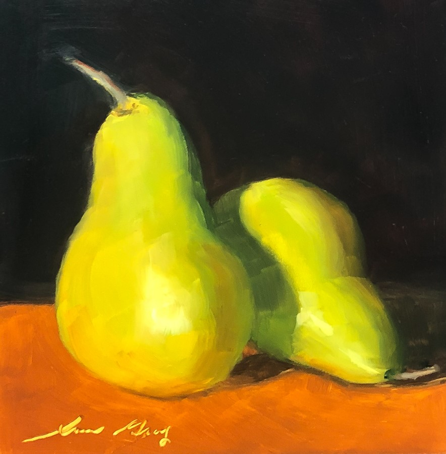 """#194 - Two Green Pears"" original fine art by Sara Gray"