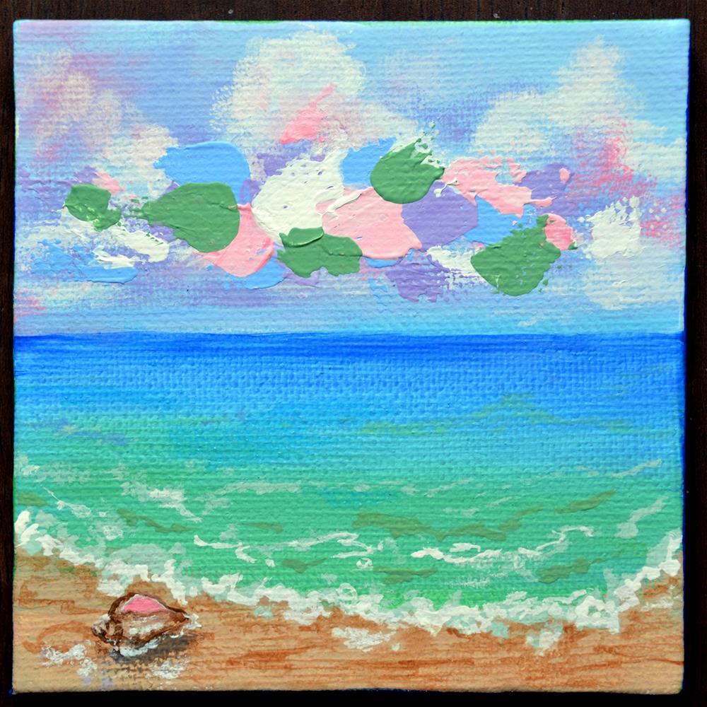 """Early Morning Shoreline Conch Find"" original fine art by Jodi Workman"
