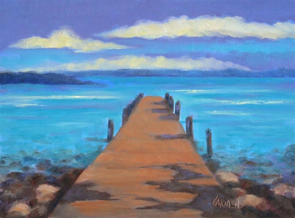 """River Dock, 8x6 Oil on Canvas"" original fine art by Carmen Beecher"