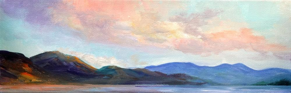 """5067 - Sunset over the Lake"" original fine art by Sea Dean"