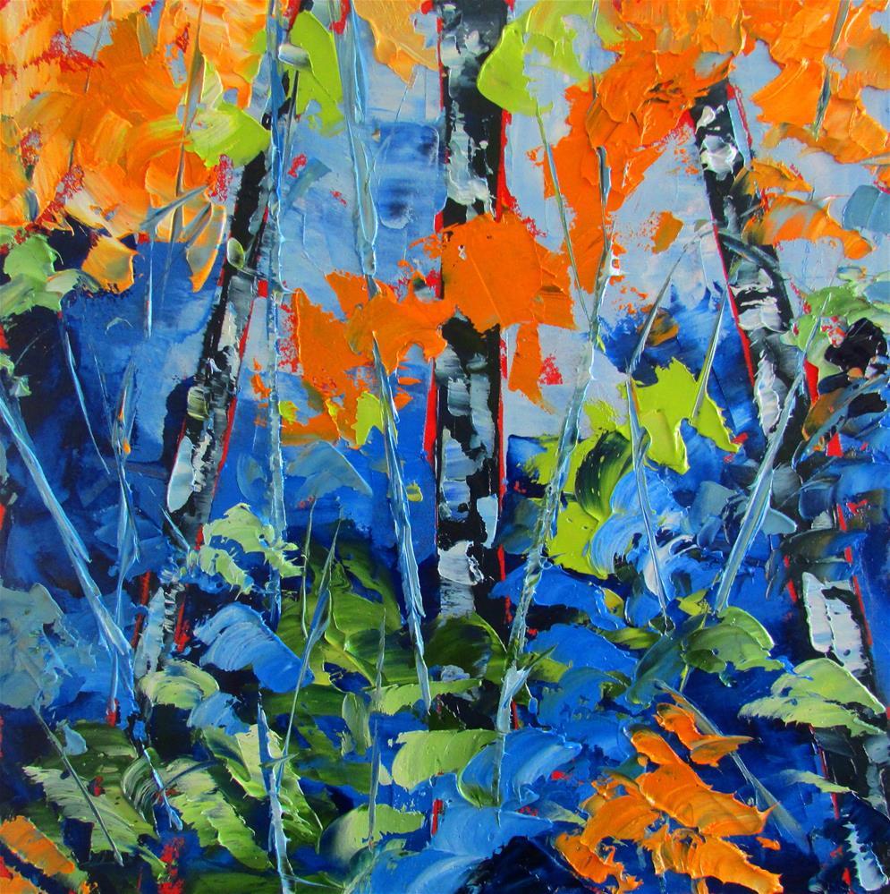 """""""8 x 8 oil Little Birches #11"""" original fine art by Linda Yurgensen"""
