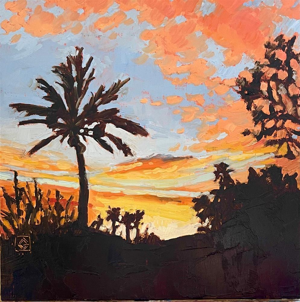 """Palm Tree Sunset"" original fine art by Carol Granger"