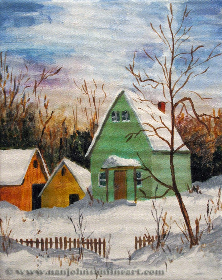"""Winter Buildings"" original fine art by Nan Johnson"