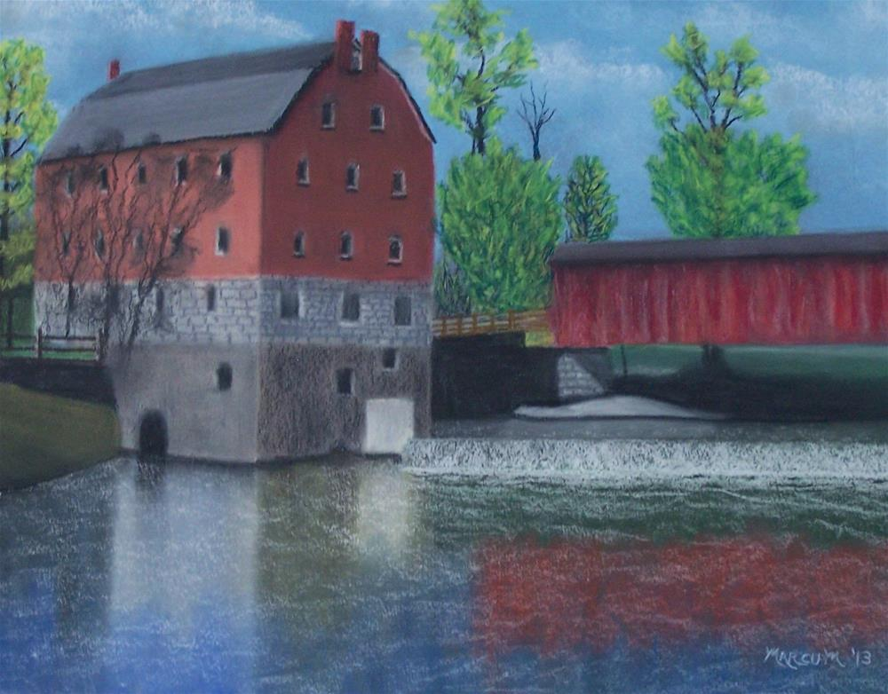 """Bollinger mill and covered Bridge"" original fine art by John Marcum"