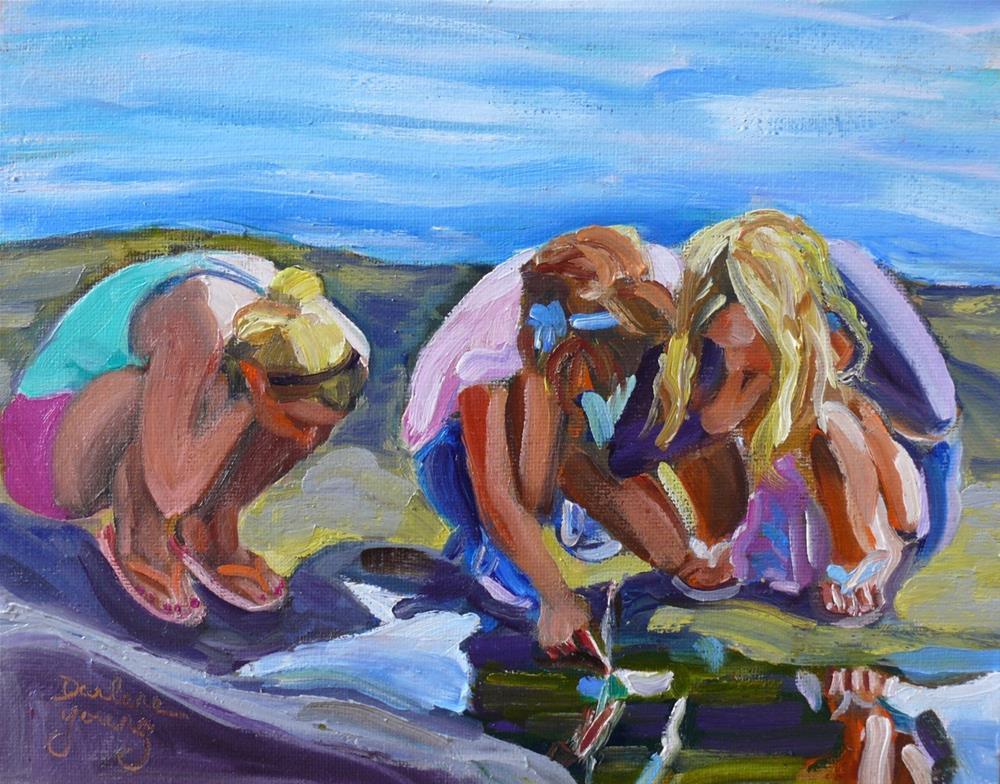 """1050 Beach Girls, 8x10, oil on board"" original fine art by Darlene Young"