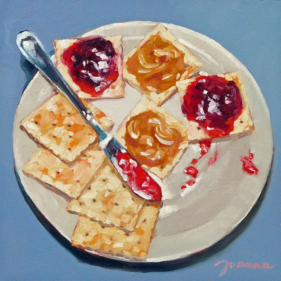 """PB&J on Crackers-2"" original fine art by Joanna Bingham"