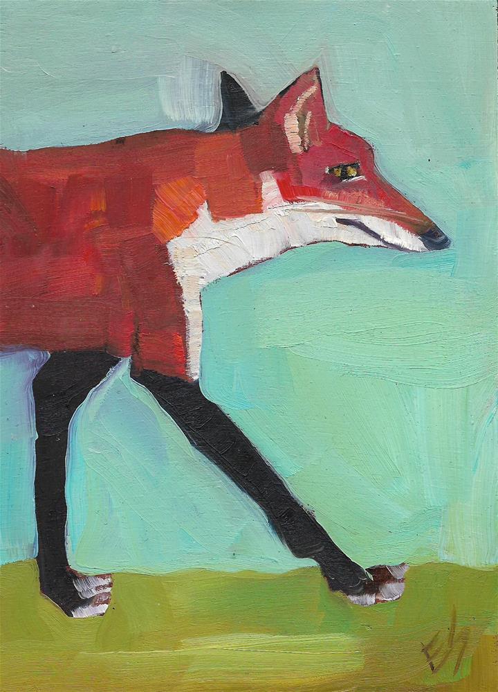 """""""Fox Walk"""" original fine art by Elizabeth See"""