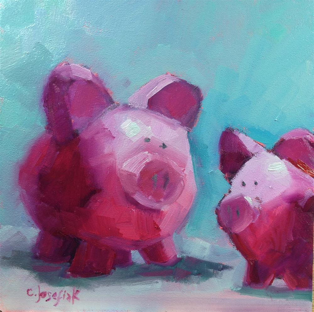 """""""This little piggy....."""" original fine art by Carol Josefiak"""