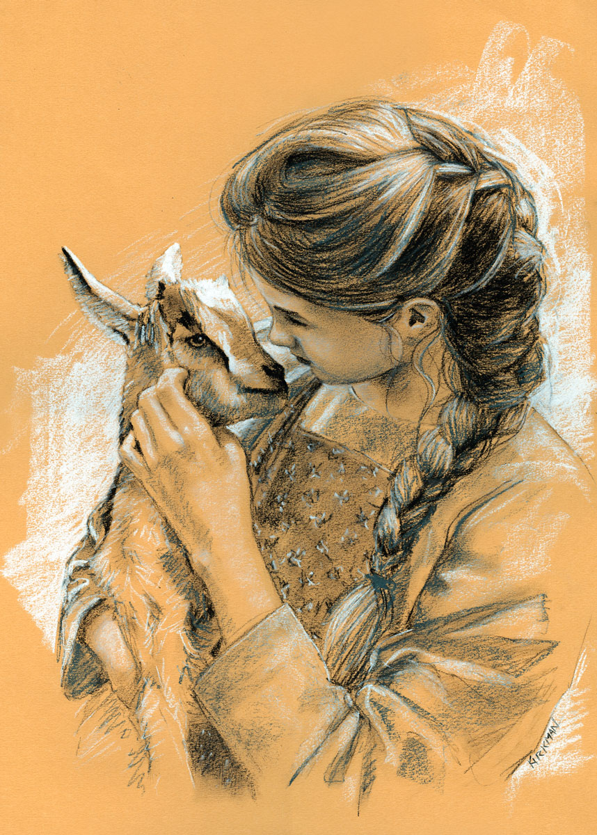 """The Girl and the Goat - Study #2"" original fine art by Rita Kirkman"