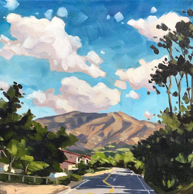 """""""Montecito Hills - 12x12"""" original fine art by Sharon Schock"""