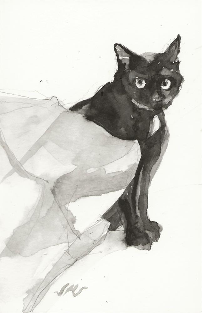 """Daily Cat 145"" original fine art by Jean Krueger"